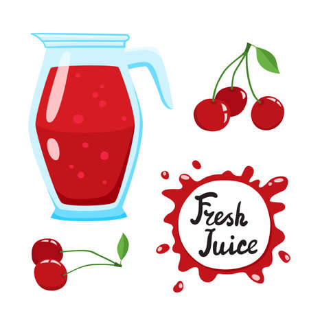 Juice with cherry in glass jug, vector cartoon card