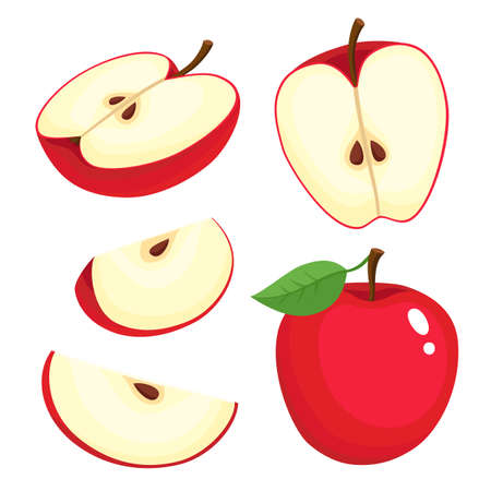 Bright vector set of colorful juicy apple.