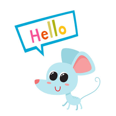 Vector illustration of cartoon blue funny mouse isolated on white background.