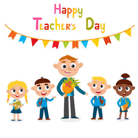 Vector illustration of happy man teacher with flower and pupils in cartoon style isolated on white. Happy teacher's day card.