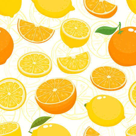 Vector seamless pattern with cartoon lemons and oranges isolated on white. Bright half, slice and whole of juice fruits. Illustration used for magazine, book, poster, card, menu cover, web pages. Stock Illustratie