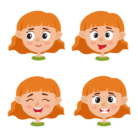 Little red-haired girl happy face expression, set of cartoon vector illustrations isolated on white background. Set of happy kid emotion face icons, facial expressions. Stock Illustratie