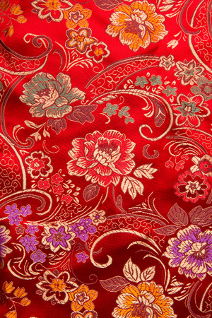 Chinese style.Beautiful Red Satin Fabric for Drapery Abstract Background