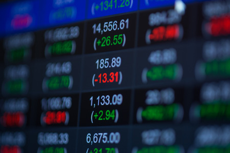 price gain: Stock market chart,Stock market data on LED display concept.