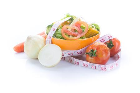 Fresh healthy salad on white blackground Stock Photo