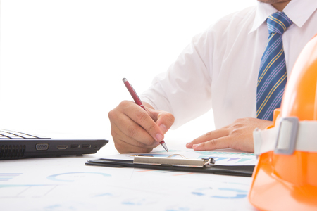 shot of businessman hand working and business strategy as concept, Stock Photo