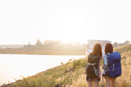 Girls Friendship Hangout Traveling Holiday Stock Photo