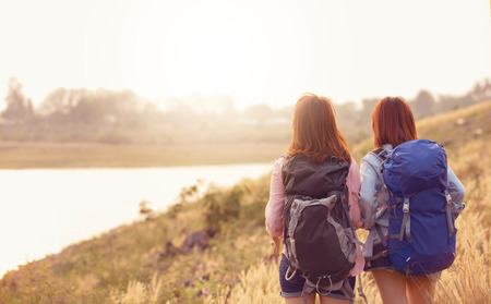 Girls Friendship Hangout Traveling Holiday,flare light Stock Photo