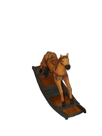 antique wood rocking horse on white background Stock Photo