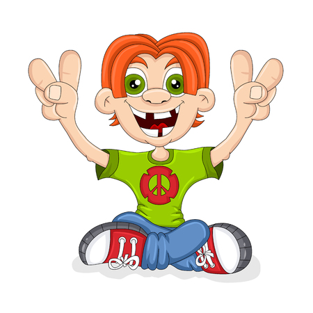 Happy Peace Kid Иллюстрация