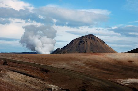 volcanic: a volcano cone in a zone of volcanic activity in Iceland