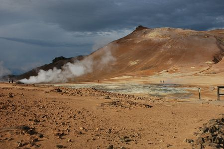 a volcano cone in a zone of volcanic activity in Iceland photo
