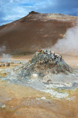 alpine zone: a geyser in a zone of volcanic activity in Iceland Stock Photo