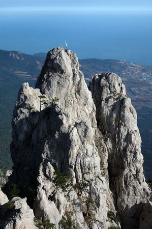 seacoast: Crimea. Seacoast at the foot of a hill Ah Petri