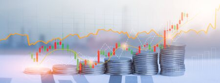 Coins stack and financial stock market graph, Savings money and investment for business concept, Digital economy and economic exchange.
