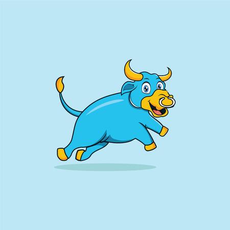 Bull Smile Mascot Cartoon Vector Vectores