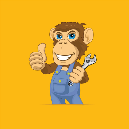 monkey mechanic Mascot Cartoon Vector