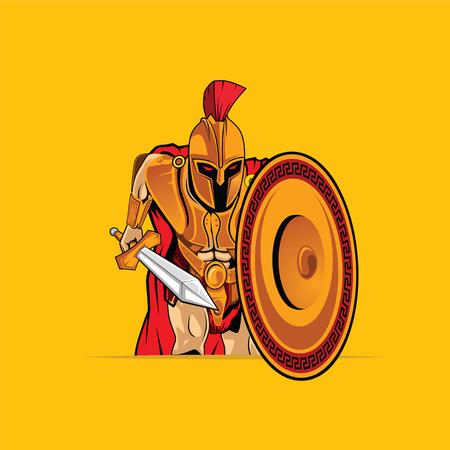Gladiator Mascot Cartoon Vector