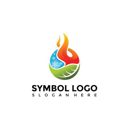 Elemento Símbolo de fuego, agua, naturaleza Logo Template. Vector Illustrator Eps. 10