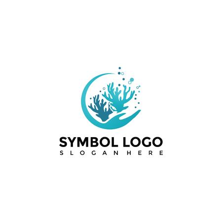 Plantilla de logotipo de mar y coral. Vector Illustrator Eps. 10 Logos