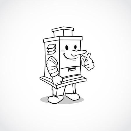 エアフィルターマスコット漫画デザイン。ベクターイラストレーターEps.10  イラスト・ベクター素材