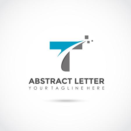 抽象文字 T アイコンデザイン。ベクターイラストレーター