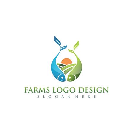 農場と農業ロゴデザイン。ベクトルイラスト。