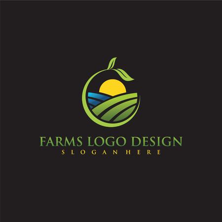ファームズロゴデザイン。ベクトルイラスト。  イラスト・ベクター素材
