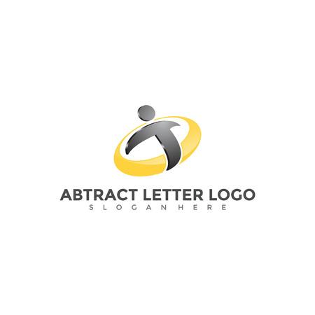 抽象的な文字Tと人々のロゴデザイン。ベクターの図。  イラスト・ベクター素材