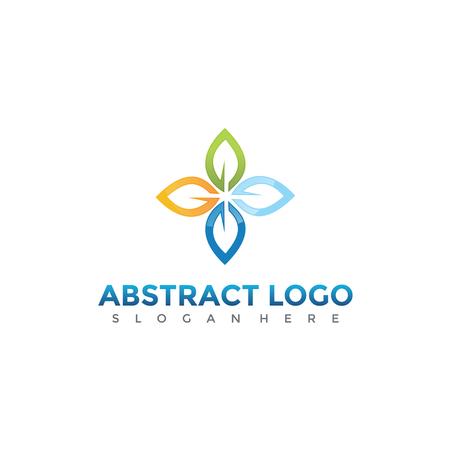 抽象文字花のロゴデザイン。ベクトルイラスト。
