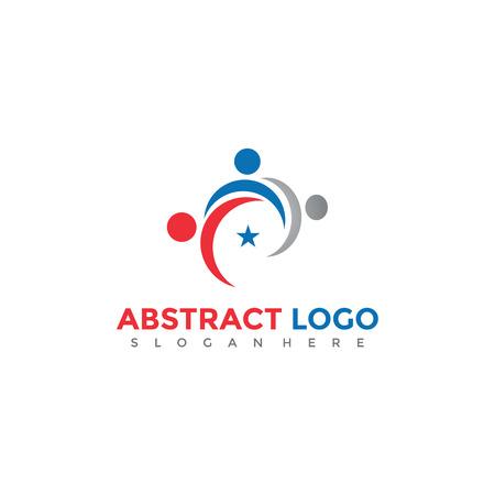 抽象的な人々ロゴデザイン。ベクトルイラスト。