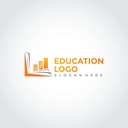 書籍と図を使用した教育と金融ロゴテンプレートのデザイン。