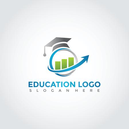 教育と財務ロゴテンプレートデザインイラスト。