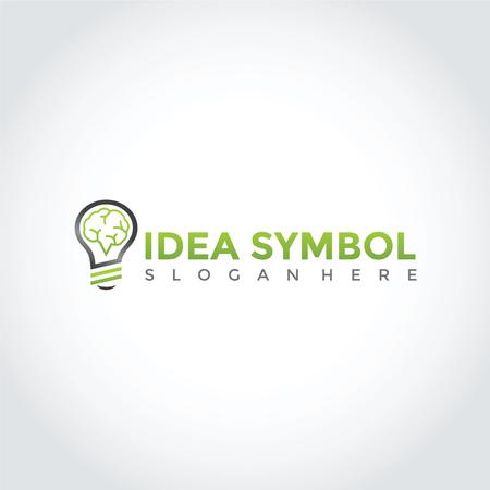 アイデアシンボルデザイン。ランプと脳のアイコン。 ベクトルイラストレーション。  イラスト・ベクター素材