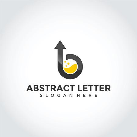 上矢印を持つ抽象文字Bロゴデザイン。ベクターイラストレーターEps.10  イラスト・ベクター素材