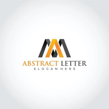豪華な抽象文字Mロゴデザイン。ベクターイラストレーターEps.10