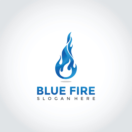 Blue Fire Logo Design. Vector Illustrator Eps. 10