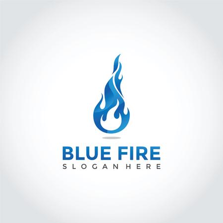 Blue Fire Logo Design. Vector Illustrator Eps. 10