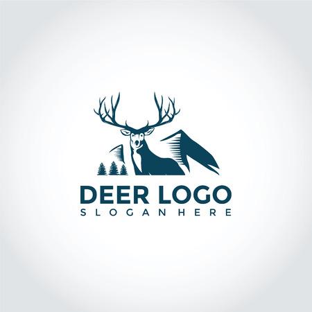 鹿と山のロゴテンプレートのデザイン。ベクターイラストレーターEps.10