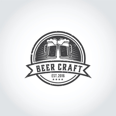 ビールクラフトロゴデザイン。ベクターイラストレーターEps.10歳