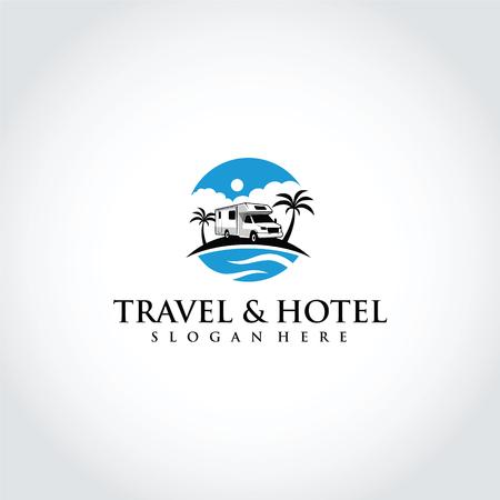 旅行とホテルのロゴテンプレートデザイン。ベクターイラストレーターEps.10歳
