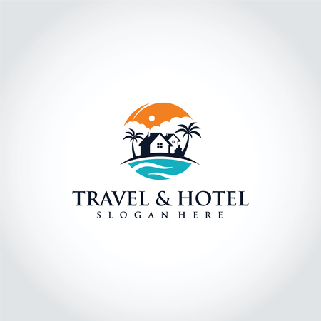 Travel and Hotel Logo Template Design. Vector Illustrator Eps. 10