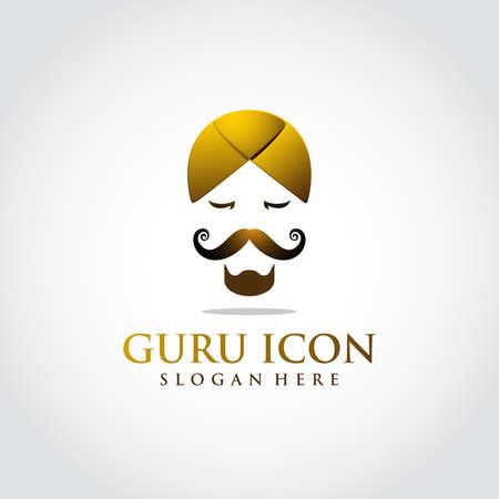 Guru icon template. Luxury color gold. head concept iconic. Vector Illustrator