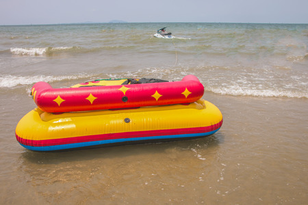 Sofa boat or sofa acqua in Bangsan beach Cha-am Thailand photo