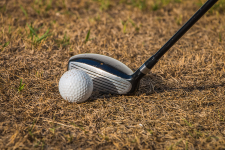午後に枯れ草でドライブ ゴルフのプレーに日光があります。