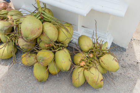 hard sell: A lots of coconuts on the street for sell in Thailand market Stock Photo