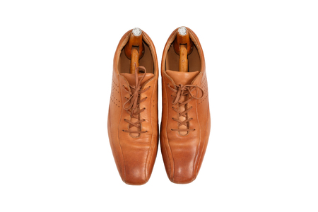 male fashion: Male fashion leather shoes and shoe trees vintage style on top view ,White background