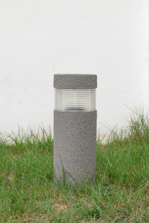 garden lamp: Solar lamp on grass in the garden