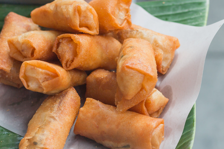 Fried spring roll on street in Thailand, street food