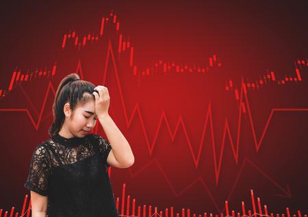 A asia woman scream and headache when stock market fall in crisis